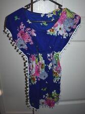Girl's Dark Blue Floral Pom Pom Fringe Hippy Boho Dress Size XL (2-3-4 yrs)