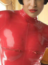 100%Latex Rubber Bodysuit Red Full-body Stylish Catsuit Zipper Suit Size XS-XXL