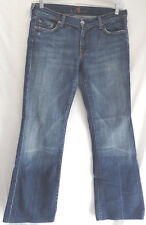 """SEVEN 7 FOR ALL MANKIND sz 32 """"FLARE"""" BLUE JEANS GOOD COND 32"""" x 29""""   (#1130-3)"""