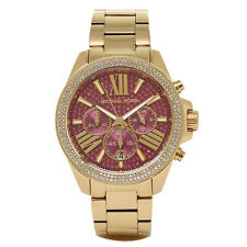 "Michael Kors MK6290 Ladies ""Wren"" Gold Tone Pink Crystal Dial Designer Watch NEW"