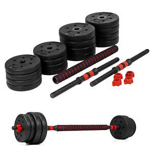 30kg Lang- Kurzhantel Hantel Set Gewichte Hantelscheiben Krafttraining 2 in1