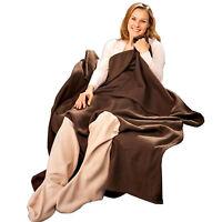 Kuscheldecke mit Beinaussparungen | Sofadecke Tagesdecke | Wohndecke Decke