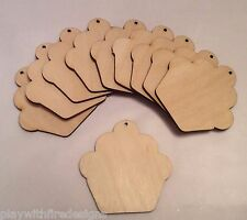 set of 10 laser cut wooden cupcakes unpainted for hanging tags embellishments