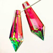 SH3026 2Pcs Faceted Rainbow Titanium Crystal Pendulum Pendant Bead 36x12mm