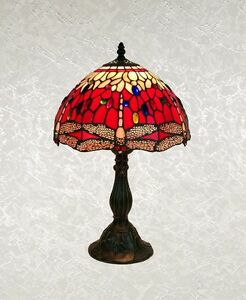 Tiffany Style Red Multi Color Stained Glass Dragonfly Table Lamp, Shade 12""