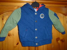 Cosy boys navy blue and green lined hooded jacket, popper fastening, 18 months