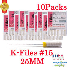 Endodontic Root Canal K Files 15 Dental Endo Stainless Tips 25mm Hand Use 10pks