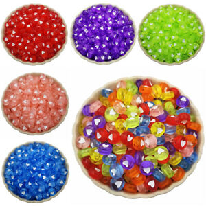 100PCS 7mm Clear Acrylic bead Loose Spacer Beads Heart Shape DIY Jewelry Making