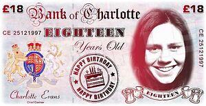 Personalised 18th Birthday LARGE BANKNOTE - Present - Keepsake - Gift - Banner