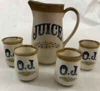 Vintage Made In Japan Ceramic Orange Juice Pitcher and 4 Cups