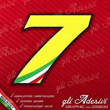 Adesivo Stickers NUMERO 7 moto auto cross gara Giallo & Tricolore