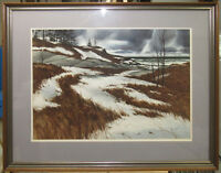 """John Loughlin Large 1974 WC """"Winter Sea"""" Listed Rhode Island with Museum Label"""