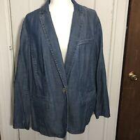Talbots Blazer 1X Soft Denim Jacket Blue NWT $149 Tencel Cotton Linen