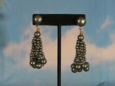 Stud Earrings with Dangling Silver Acrylic Beads