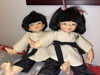 1982 Chopstick Kids Mieler Asian Set Boy & Girl  Karate Doll JMB Jacobsen.