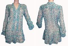 Geblümte Damenblusen,-Tops & -Shirts mit V-Ausschnitt und Chiffon für Freizeit