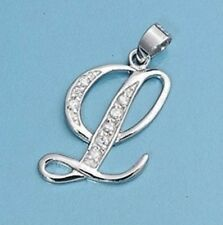 L Letter Alphabet Initial CZ Pendant Sterling Silver 925 Best Price Jewelry Gift