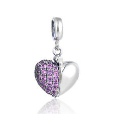 Purple Heart 'I Love You' Charm, Silver Jewellery, Love Charms for Bracelet