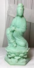 Chinese Faux Green Jade kwan-yin Guanyin Seat Lotus Base Statue w/Night Glow