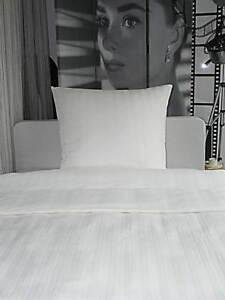 Angebot Hotelbettwäsche Bettwäsche Damast Streifen 23mm weiß 135x200/80x80