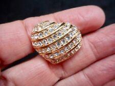 Authentic Vintage Gold Tone Swaroski Rhinestone HEART Brooch/Pin