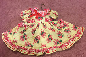 "Daisy Kingdom Yellow & Red Gingham Dress For 18"" Vinyl Play Doll Amer Girl Size"