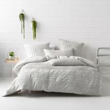 Deco Linen House Cameron Silver Single Bed Size Duvet Doona Quilt Cover Set