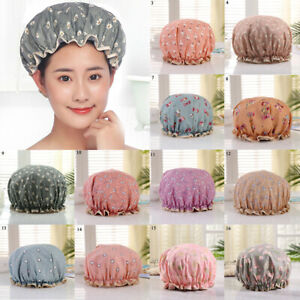 Women's Double Layer Hair Cover Elastic Polyester Cotton Outer Layer Shower Cap