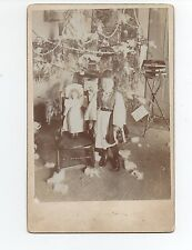 1890s Cabinet Photo of Young Girl w/ Doll under Christmas Tree