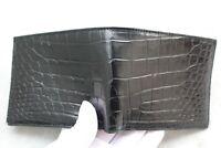Double Side Handmade Genuine Crocodile Leather Skin Men Bifold Wallet BLACK
