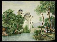 Dessin original aquarelle XIXe le retour à la ferme du château 31 cm