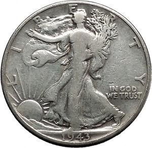 1943 WALKING LIBERTY Half Dollar Bald Eagle United States Silver Coin i45147