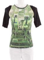 MARC CAIN Shirt N5 grün schwarz Tropen Bali Tempel Spitze  Gr.42 weiß Spitze