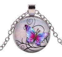 Collier pendentif imprimé joli papillon, Chaine argenté.