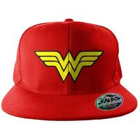 Official Red Wonder Woman Wings Logo Embroidered Snapback Cap Hat - DC Comics