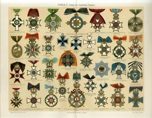 1895 GERMANY AWARDS ORDERS IRON CROSS Antique Chromolithograph Print