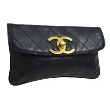 CHANEL CC Cosmos Line Clutch Hand Bag Black Leather Vintage AK37964e