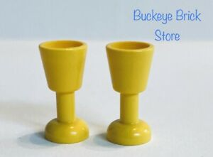 NEW Lego Minifig Two Yellow Goblets Drinking Glass Minifigure