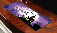 Runner viola da tavolo personalizzato con streghe di Halloween, ideale per feste