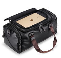 New Mens Black Large Leather Travel Gym Bag Weekend Overnight Duffle Bag Handbag