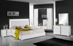 Italian White High Gloss King Size 5 Piece Bedroom Set -  San Marino