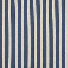 A0009E Blue Off White Striped Upholstery Fabric By The Yard