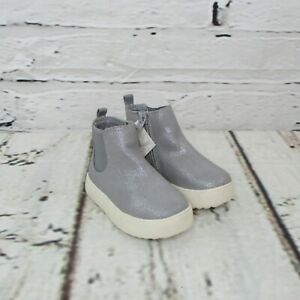 Cat & Jack Toddler Girls Size 6 Afi Sneaker Ankle Booties Gray Glitter White