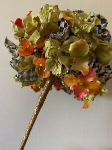 Mackenzie Childs  Courtly Check  3 Silk  Glittered Hydrangea Flower Stem NEW