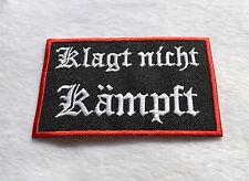 Klagt Nicht Kämpft !!,Patch,Skull,Badge,Biker,Kutte,Aufbügler,Aufnäher