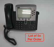 Lot of 5 Cisco CP-7960G VoIP IP Phone w/ Handsets and Stands