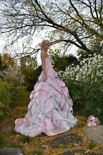 Anne Barge Couture Silk Wedding Gown Dress Pink Blush Rose White 12 4 6 8 Small
