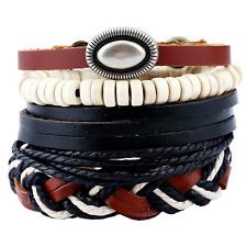 Beads Bangle Bracelet Adjustable Wristband Fashion Men Multilayer Leather Wood