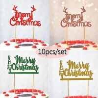 10Pcs/Set Merry Christmas Cake Topper Glittery Red Xmas Cake Toppers Decoration