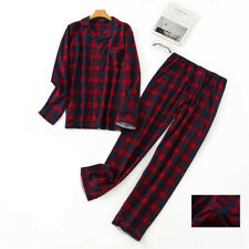 Mens Pyjamas Set Plaid T-shirt top & Lounge Bottoms Pants Nightwear Suit Pjs